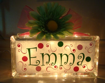 Personalized Girls Glass Block Night Light with Dots and Swirls - Vinyl Lettering