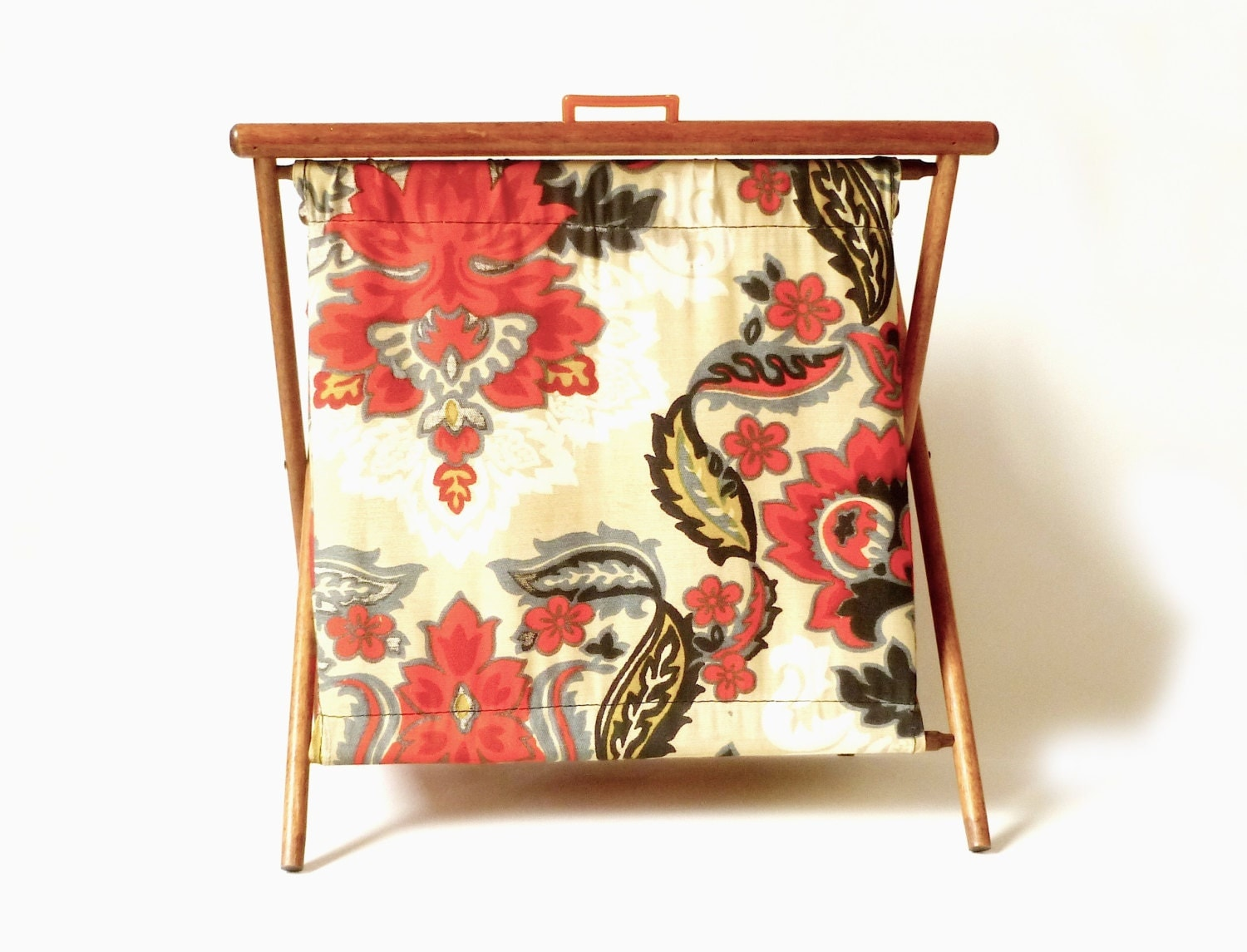 Vintage Knitting Bag : Vintage knitting bag standing folding floral by