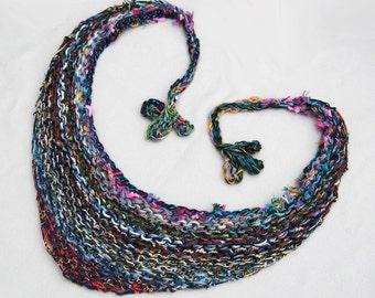Bulky Shawl, Hand Knit, Long Ties, Multi Color, Rainbow, Triangle Shape, Fleur de lis Tassels, Feminine, Versatile Wrap, Handmade, Gift