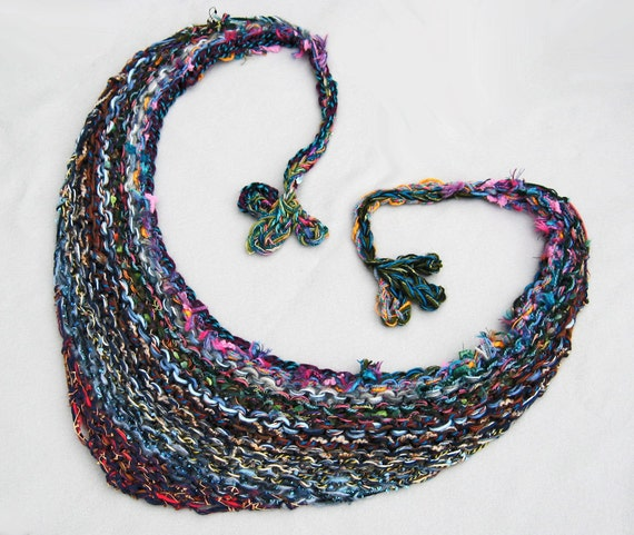Bulky Shawl, Hand Knit, Long Ties, Multi Color, Rainbow, Triangle Shape, Fleur de lis Tassels, Feminine, Versatile Wrap, Handmade, Gift