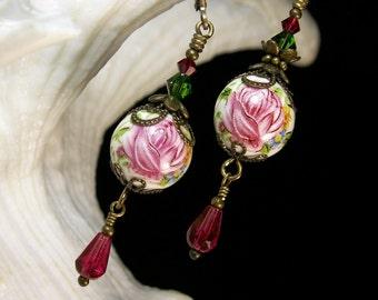 Pink Rose Drop Victorian Earrings, Flower Rosebud Crystal Vintage Bridal Style Dangles, Antiqued Brass Filigree, Titanic Temptations Jewelry