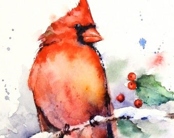 CARDINAL & Holly Watercolor Print, Cardinal Painting, Bird Art,  by Dean Crouser