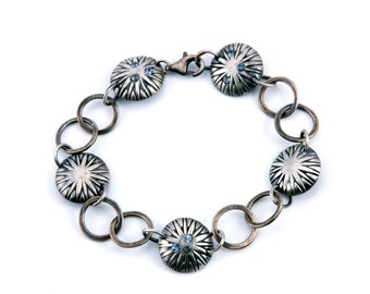 Chain Bracelet | Oxidized Silver | Button Jewelry | Hand Forged