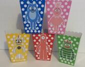 25 Yo Gabba Gabba inspired Popcorn boxes...Brobee,Plex,Muno,Foofa,Toodee