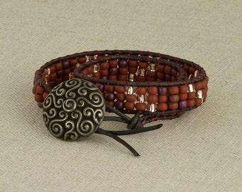 Bead & Leather Bracelet Wrap Southwest Boho Brown Purple Silver
