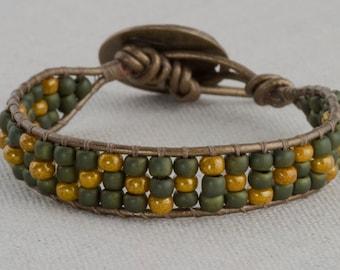 Bead and Leather Bracelet Green Gold Leaves Boho Southwestern