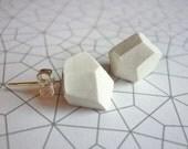 White Geometric Clay Earrings