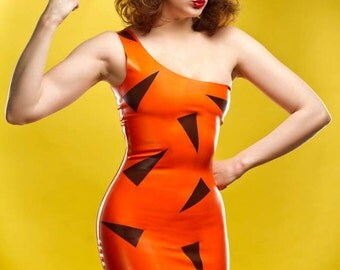 Bamm Bamm Rubble Flintstones Inspired Rubber Latex Dress