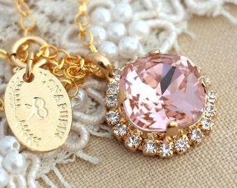 Blush Necklace,Bridal Blush Swarovski Necklace,Bridal Crystal Necklace,Swarovski Blush Pink Necklace, Bridesmaid  Necklace,Bridal Necklace