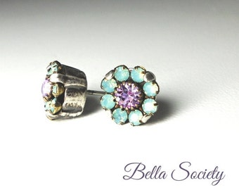 Pacific opal and violet Swarovski crystal earrings on post