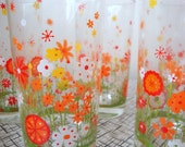 Vintage 70s Cute Daisy Flower Glass Set of 6 Tangerine Lime Green Kitsch Anchor Hocking Glassware Mid Century Drinking Kitchen Home Decor
