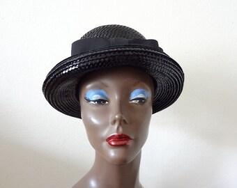 1960s Mod Straw Hat with Bow / vintage shiny black fancy fedora