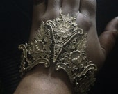 Hand Armor Gold Color Metal Lace Bracelet with Chain Ring, Statement Jewelry, Hand Armor Bracelet