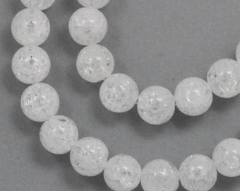 Ice Flake Quartz Beads - 6mm Round - Full Strand