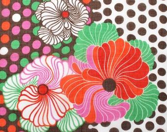 Vintage Kreier Handkerchief Unused 1960s Hippie Flower Child Graphics Brown Dots Boho Fashion Accessory Textile Collectible
