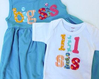 Big Sis Lil Sis Dress and Shirt Set - Sibling Sets, Big Sister Little Sister