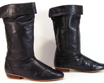 vintage dexter fashion boots womens 6.5 B black leather fashion slouch pirate