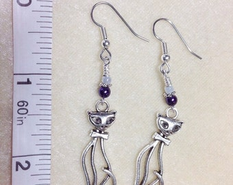 Kitten Beaded Dangle Earrings Surgical Steel Wire, French Hook Kitty Cat Earrings Gift