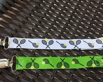 Tennis love pacifier set- all tennis ribbons