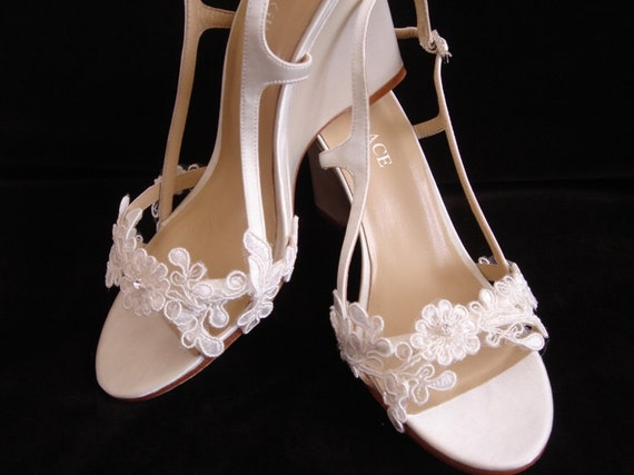 Lace Bridal Wedge Heel Wedding Shoes 35 Inch By YvesBellaBrides