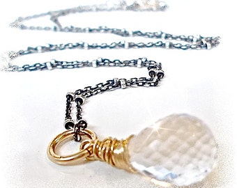 Mixed Metal  Gold Wire Wrapped AAA Quartz Sterling Necklace . Oxidized Sterling Silver Satellite Necklace .
