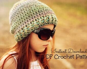 Crochet Girls Hat Pattern / Ribbed Brim Hat Pattern / The Madison Beanie Pattern / Sizes Newborn to Preteen