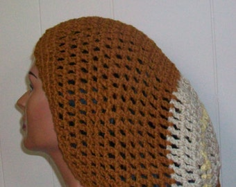 Crochet Tam,Large Dreadlock Tam, Handmade Crochet Tam, Tan Cream and Yellow Tam