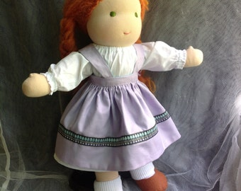 Large 18 inch Waldorf Doll With Red Hair Green Eyes and Reversible Apron