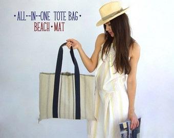 Linen tote bag beach mat -Softness- Eco-friendly all-in-one bag mat, shopper tote, picnic bag, yoga mat, pool mat, soft striped linen,