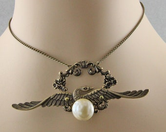 Steampunk Wings Flowers and Pearl Pendant