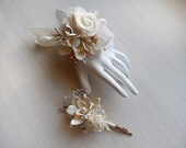 Wrist Corsage and/or Boutonniere, Sola Flowers, Birch Bark, Rustic, Country, Woodland, Corsage, Boutonniere. Made to Order.