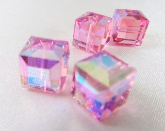 Rose ABB AB 8mm Swarovski 5601 Cube Jewelry Beads