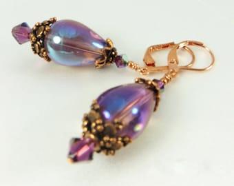 Copper and Purple Swarovski Amethyst and Blown Glass Teardrop Earrings