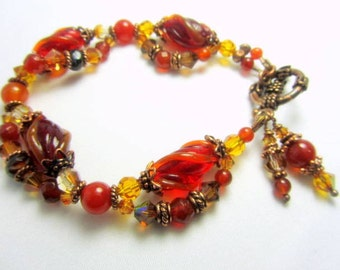 Bracelet in Rust Orange Vintage Lampwork and Bali Antique Copper Vintage Style with Carnelian Semiprecious Faceted Stones