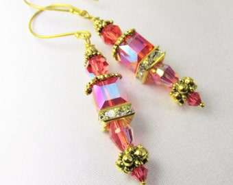 Swarovski Coral Padparadsha AB Cube Earrings on Bali 22k Gold Vermeil Wires