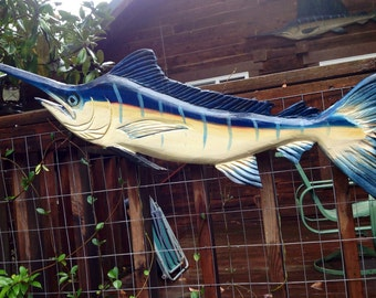 Blue Marlin with upward arch 4 ft. chainsaw wooden taxidermy carving nautical trophy fish wall mount coastal living sport fishing home decor