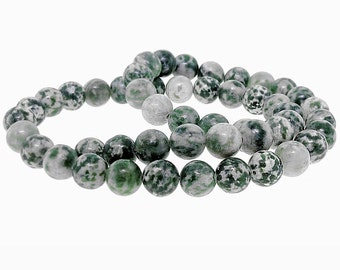25 Mottled Beads Cream and Forest Green Gemstones 8mm - BD401A