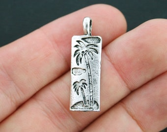 BULK 25 Palm Tree Charms Antique Silver Tone Tropical Beach - SC3999