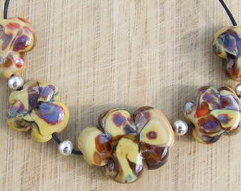 Oak Tree - lampwork bead set