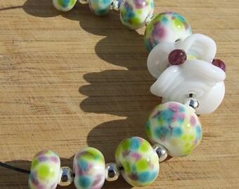 Caged - lampwork bead set
