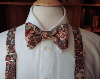 Handmade Suspender And Bow Tie Set / Fall Wedding / Custom Made Pre-tied Bow Tie / Mens Bow Ties / Grooms Ties / Suspenders / Rustic Wedding