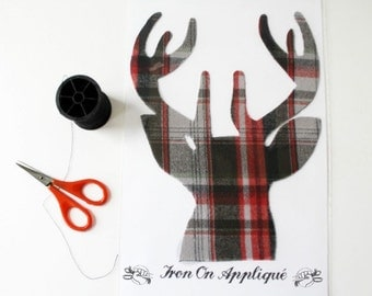 Plaid Iron On Buck Deer Applique Design by TrashN2Tees