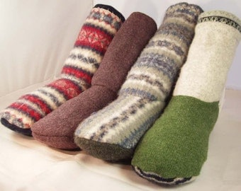Slipper Boots made with ReCycled Felted Wool Sweaters, made to order, most sizes, unisex