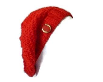 Hand knit Slouchy Beanie, Womens Slouchy Beanie, Red Beanie, Knit Beanie, Red Slouchy Hat, Scarlet Red Hat