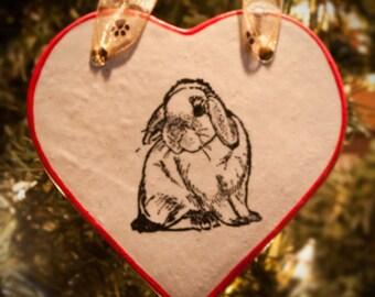 Floppy Eared Bunny - Holiday Heart Ornament