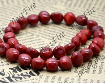 10-12mm  Strand Nugget red Coral Beads,Free nugget  Red Coral Beads Full One Strand 16inch