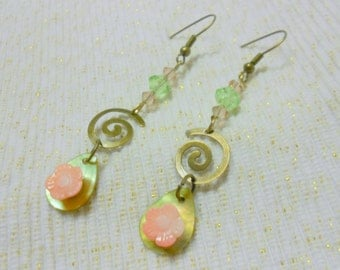Shell with Coral Flower Spiral Charmed  Earrings