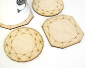Wood Jewel Coasters - Laser Cut Birch Plywood Set of Four Geometric Diamond Gems