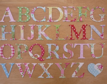 2 shabby chic iron on fabric letters 5cm uppercase appliques made to order choose your letters and fabrics ships from uk