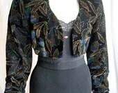 1980s ViNTaGe Jacket/ ViNTage Evening Jacket/ Cropped Bolero Jacket with Gold Outline Leaf Pattern